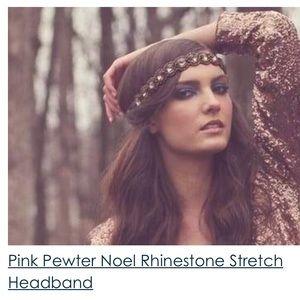 Pink Pewter Noel Rhinestone Stretch Headband